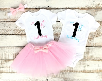 2b2f3f458eedb Pink and Blue Twins Birthday Party Outfits, Boy Girl Twins, Our First  Birthday, Aqua Blue, Light Pink Tutu, Matching Bodysuits, 1st B-day