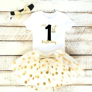 Gold Bow Headband Baby Girl Personalized First Birthday Outfit Black and Gold Polka Dot Tutu Skirt Custom Name 1st Birthday Photoshoot