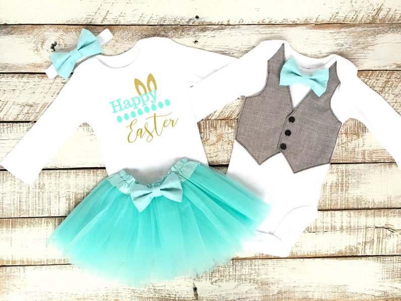 d98e93f7 Brother Sister Easter Baby Outfits Boy Girl Matching Happy | Etsy