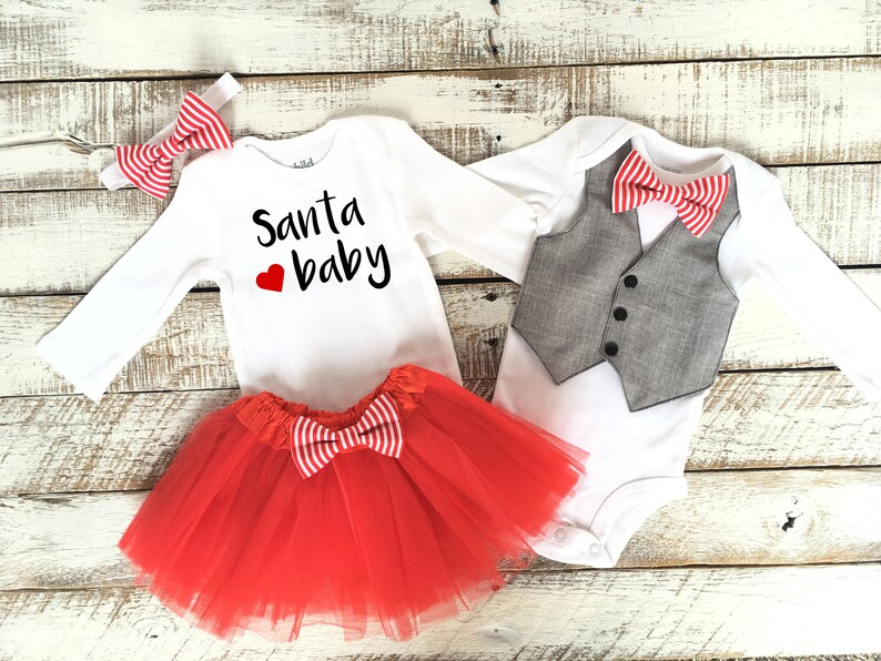 1e25526779ce Boy Girl Twins Christmas Outfits Santa Baby Brother Sister | Etsy