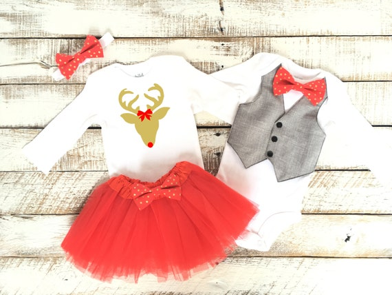 image 0 - Brother Sister Christmas Outfit Rudolph Reindeer Twin Etsy