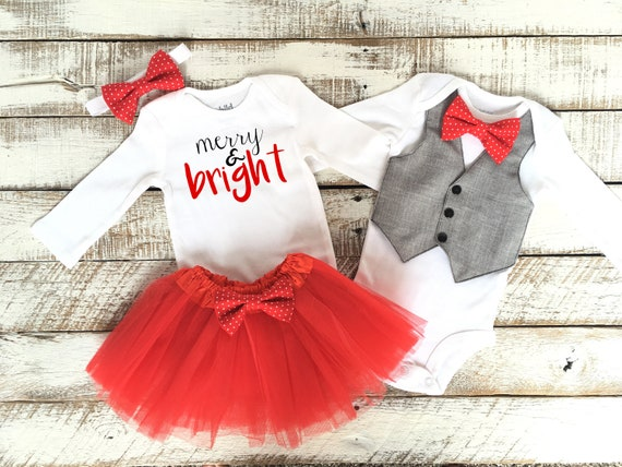 Christmas Outfits.Brother Sister Christmas Outfits Twin Matching Coordinating Outfits Vest Bodysuit With Red Polkadot Bow Tie And Tutu Skirt Merry Bright