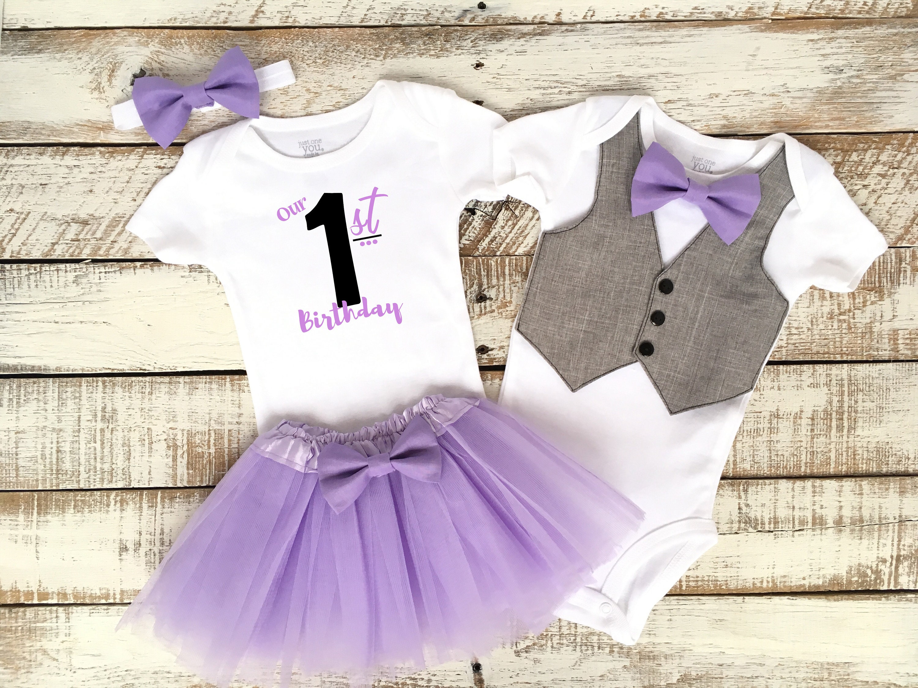 1fa8432429459 Boy Girl Twins 1st Birthday Outfits Our First Birthday   Etsy