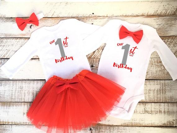 558170b416388 Valentine's Babies Twin Birthday Outfits Boy Girl Twins   Etsy