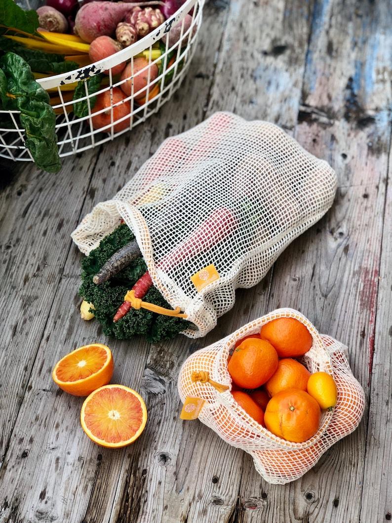 organic cotton shopping nets yellow Set 2 L + M