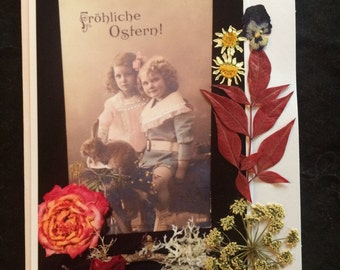 Nice Fashion c1920s Deckled border Vintage Real Photo Birthday Postcard Little BOY and FLOWERS