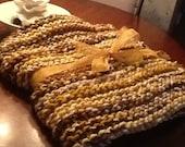 Chunky hand knit wool blanket