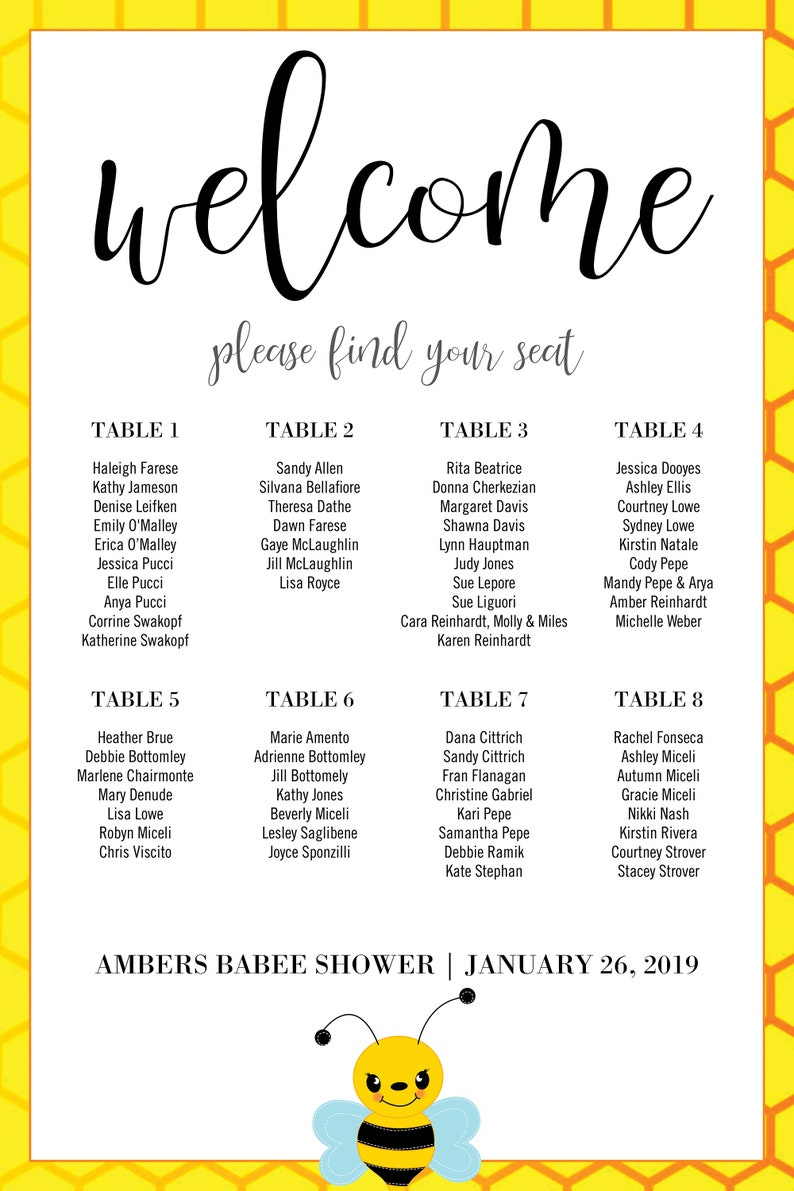 Bee theme Welcome to the Baby Shower Sign 20 x 30