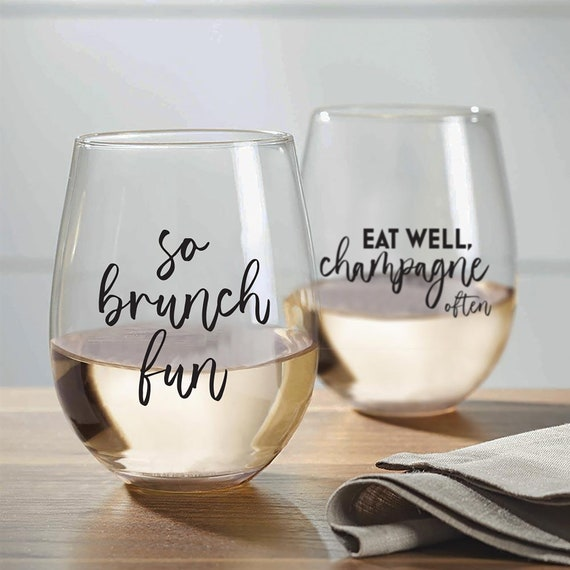 Let There Be Brunch BRUNCH Stemless Wine Glasses Hakuna Mimosa So Brunch Fun!