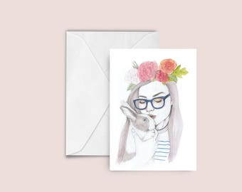 Woman / Rabbit fashion illustration Greeting card , blank card