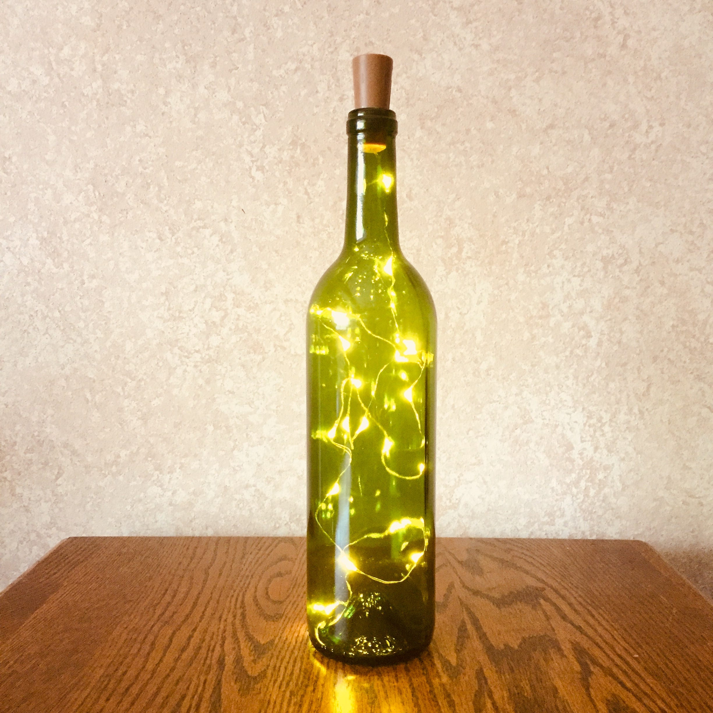 Green Wine Bottle With Twinkle Fairy Lights Powered from Cork   Etsy
