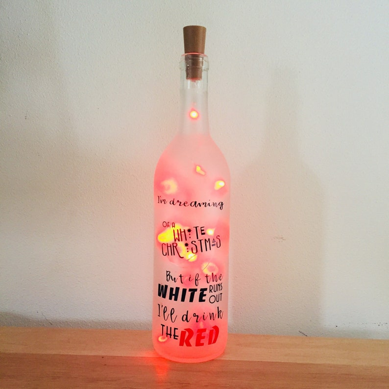 White Christmas Wine Bottle Decoration With Red Lightsred Etsy
