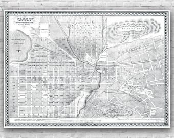 Ballarat Map - H.Deutsch Black and White Map 1860's, poster, print, antique map, wall art, Ballarat