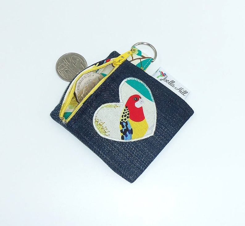 Coin Purse for keyring mini up-cycled denim  camera cards image 0
