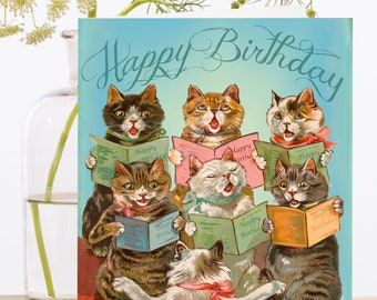 Birthday Cards Pack Of 3 Vintage Image Montage Singing Choir Tortoiseshell Tabby Cats Kittens Designer High Quality HB87
