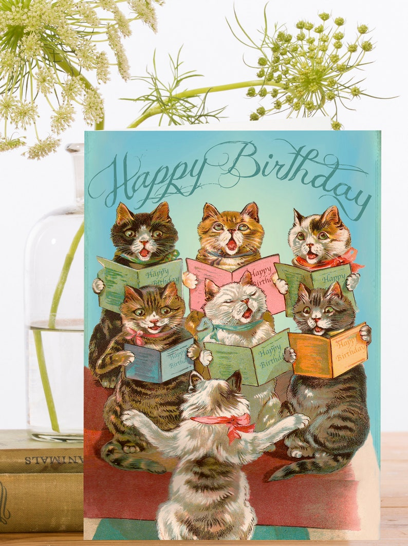 Birthday Cards Pack Of 3 Vintage Image Montage Singing
