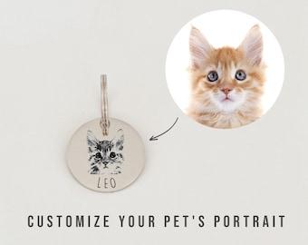 SSC Personalized Pet Portrait Tag Custom Dog Portrait Tag Cat Portrait Tag Cat Collar Tag Cat ID Tag Dog ID Tag Dog Name Tag L1