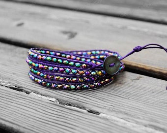 Wrap Bracelet Purple Crystal Bracelet Beaded Bracelet Cuff 4mm Beaded Bracelet Birthday Gift