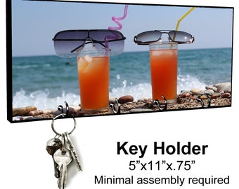 KEY HANGER HOLDER RACK BEACH #3 Sand Sea Ocean Tropical Island Sun Shells