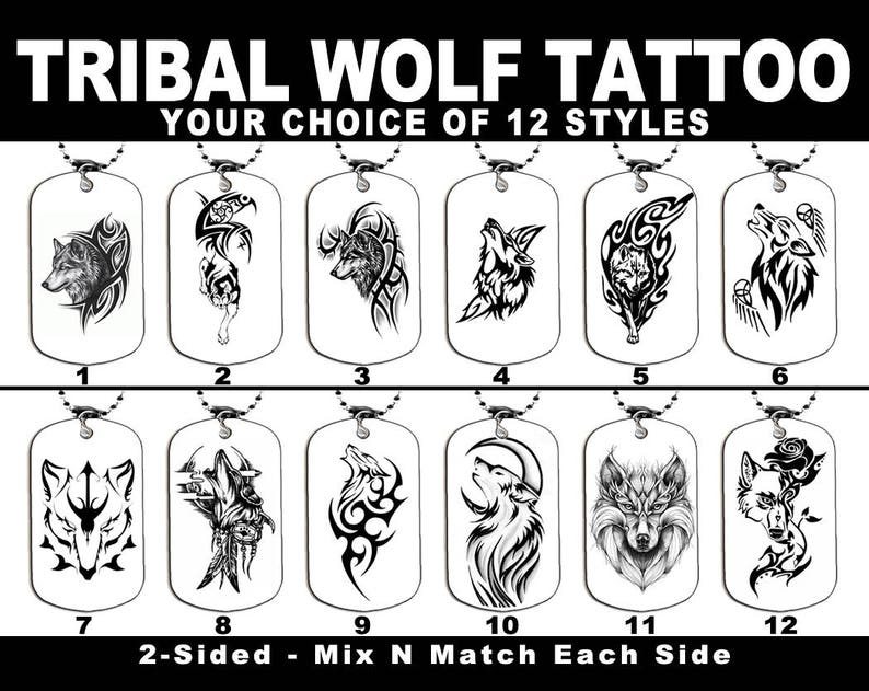 fb0397a6c070d DOG TAG NECKLACE Tribal Wolf Tattoo Choice of 12 styles | Etsy