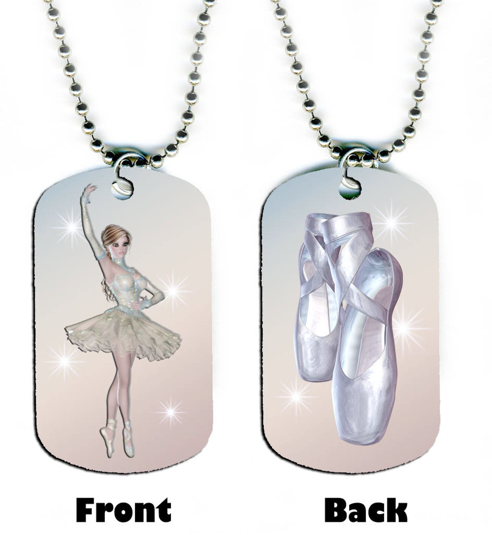 dog tag necklace - ballerina #sn1 ballet dance dancer dancing shoes