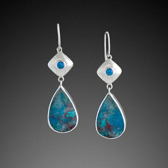 Shattuckite Earrings with Kashmir Blue Topaz