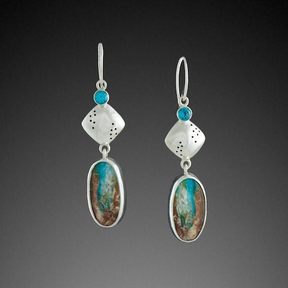 Peruvian Opal Earrings with Blue Topaz