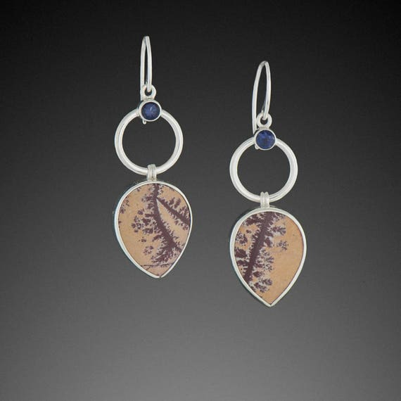 Sonora Dendritic Rhyolite Earrings with Iolite
