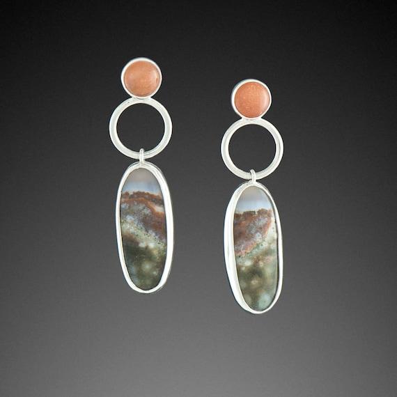 Ocean Jasper and Sunstone Earrings
