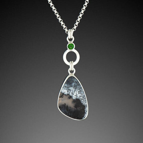 Dendritic Opal Pendant with Chrome Diopside