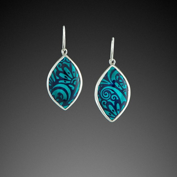 Enamel and Silver Earrings – Marquis with Floral in Turquoise and Blue