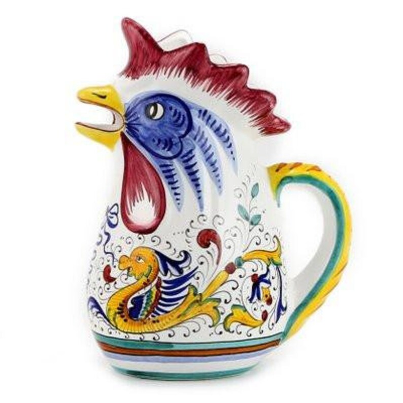 1 Liter 34 Oz 1 Qt RAFFAELLESCO Rooster of Fortune pitcher