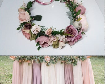 Dusty rose Mauve Blush flower crown,Floral headband,Bridal hair wreath,Wedding flower halo,Flower girl crown,Peonies crown