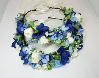 Blue Flower Girl Headbands