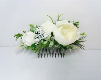 be6bb834e94e2 Ivory flower comb Eucalyptus flower comb Wedding flower comb Bridal flower  comb Bridal hair accessories Floral headpiece Flower vine