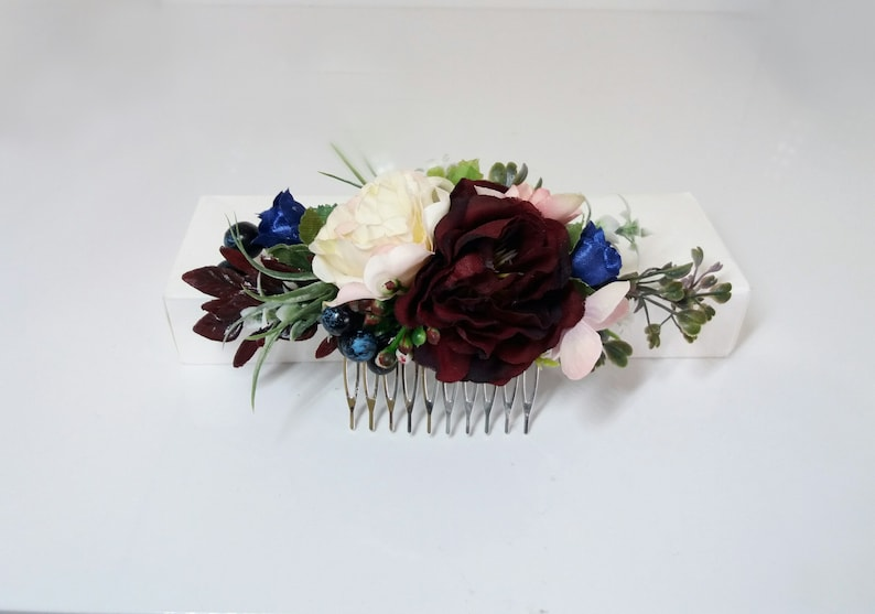 42ff08eaddb7d Burgundy Blue blush flower comb, Maroon Peony comb,Wedding flower  comb,Bridal flower comb,Floral comb,Bridal hair accessories,Marsala Comb