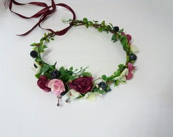 Plum Purple Flower crown,Flower girl crown,Bridal flower crown,Plum Floral crown,Wedfing Flower crown ,Flower hair accessories