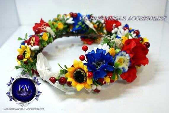 Rot Blau Gelb Blume Krone Hochzeit Blume Krone Braut Haarband Etsy