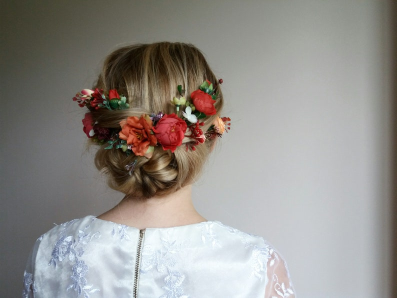Hot Orange Flower comb,Wedding flower vine,Bridal flower comb,Floral vine,Orange Burgundy flower comb,Bridal hair accessories,Floral comb