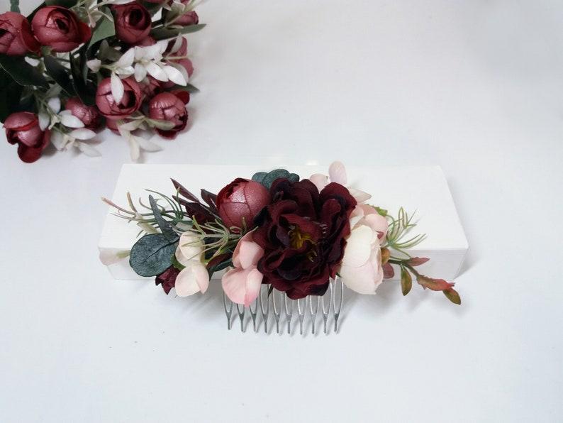 4bf9d2a67b8e3 Burgundy blush flower comb, Maroon Peony comb,Wedding flower comb,Bridal  flower comb,Floral comb,Bridal hair accessories,Marsala Bridal Comb