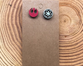 Star Wars Sith Empire Wooden Ear Studs Round Wood Earring Unisex 10mm