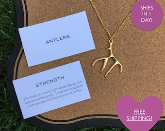 Free Shipping! ELK/STAG ANTLERS - Hannibal Inspired - 18in Necklace with Lobster Clasp - Gold Plated