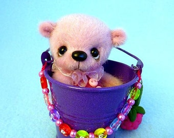 "Raspberry - 7.5 cm handmade artist miniature teddy bear by ""HappyTeddy"" J."