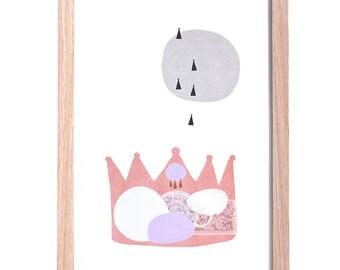 LAST CHANCE !  Girls Art, Pink Royal Crown Scandi Art Print, A4, 8 x 10, Children's Interior Nursery Decor Scandinavian Kid's Bedroom