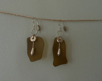Seaglass And Silver Earrings
