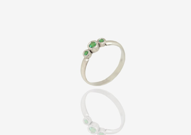 Emerald Silver Ring Sterling Silver Ring Green Emerald Ring Solid Emerald Ring Silver Anniversary Ring Silver Promise Ring