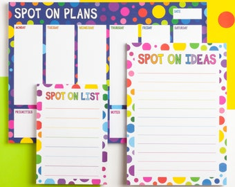 Rainbow Spots Notepad Bundle, Notepad Set Of 3, Colourful Matching Stationery Set, Spotty A4 Weekly Planner, A5 Daily Notepad, A6 List Pad