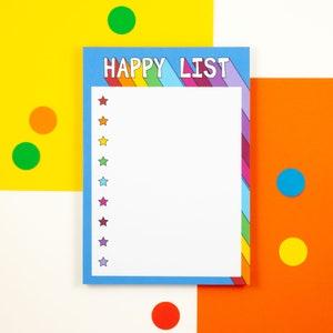 paper goods, Lists Make Me Happy List pad Stationery gift List Pad Stationery pad Gift for Her Stocking Filler Jotter pad