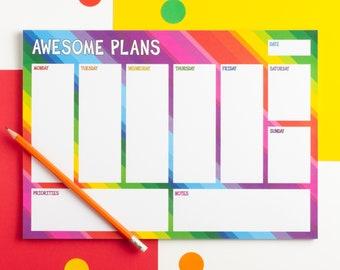 Rainbow Weekly Planner Pad, A4 Weekly Desk Pad, Awesome Plans Desk Planner, Colourful Weekly Notepad, Weekly Organiser Pad, Weekly Agenda