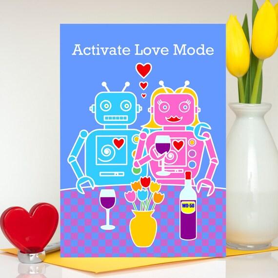 Grappige Valentines Day Card Robot Verjaardag Kaart Vrouw Etsy